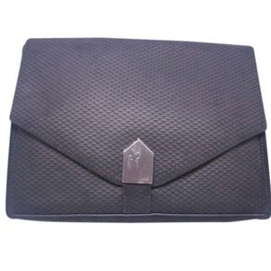 NWT Black Leather Textured Clutch Bag